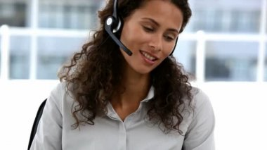 Business customer services operator woman smiling — Stock Video