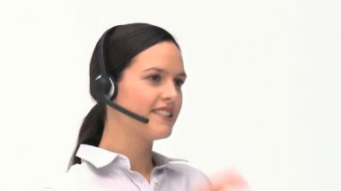 Customer service and support woman talking with a headset — Stock Video