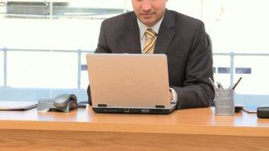 Hübsche geschäftsmann auf einem laptop in seinem büro arbeiten — Stockvideo