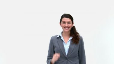 Happy businesswoman in front of the camera — Stock Video