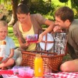 Cute family with picnic basket — Stock Video