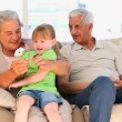 Stock Video: Granddaughter with her Grandparents