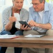 Stock Video: Mature couple calculating their domestic bills
