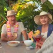Elderly friends making an aperitif together — Stock Video #15535003