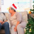 Mature couple on Christmas day — Stock Video