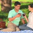 Couple drinking red wine - Foto Stock