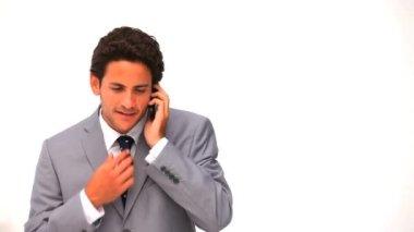 Elegant business man talking on the phone — Stock Video