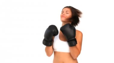 Coquette woman in sportswear with boxing gloves — Stock Video