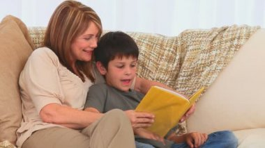 Una nonna leggendo un libro a suo nipote — Video Stock