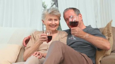 Mature couple enjoying a glass of red wine in the living room