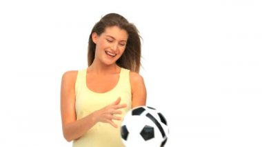 Woman with a ball of soccer — Stock Video