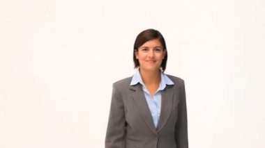 Brunette businesswoman folding one's arms — Stock Video