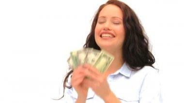 Brunette showing off her cash — Stock Video
