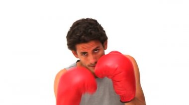 Casual man with red boxing gloves — Stock Video