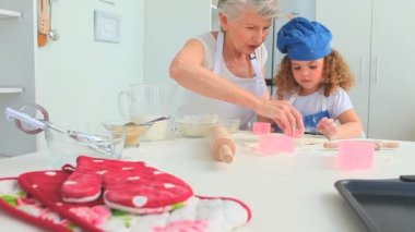 Grandmother taching to her grand daughter how to bake — Stock Video