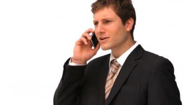 бизнесмен, говоря на телефоне — Стоковое видео