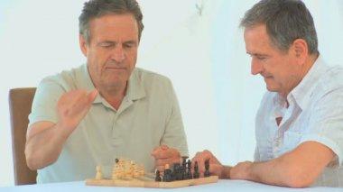 退休的朋友下棋 — 图库视频影像
