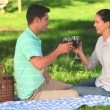 Couple drinking red wine outdoors - Foto Stock