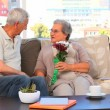 Elderly couple with flowers — Stock Video