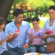 Happy family eating fruit outdoors — Stock Video