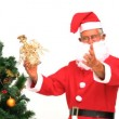 Stock Video: Santa Claus decorating the Christmas tree