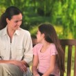 Mother talking to her daughter — Stock Video