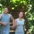 Royalty-Free Stock Vektorfiler: Couple running in a wood