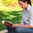 Woman sitting reading outdoors — Stock Video