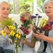 Stock Video: Family putting flowers in vase