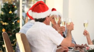 Elderly friends drinking champagne to celebrate Christmas — Stock Video