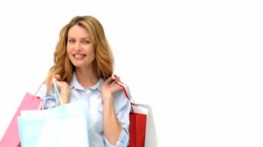Wonderful blond woman with shopping bags — Stock Video
