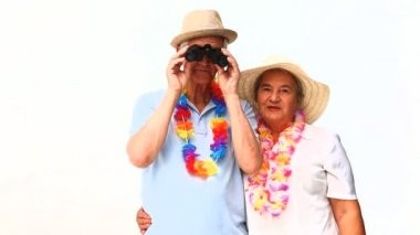 Elderly couple in holidays with binoculars — Stock Video