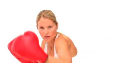 Dynamic woman with red boxing gloves — Stock Video