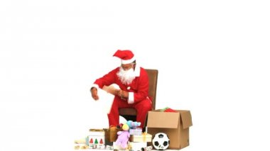 Santa Claus with presents — Stock Video