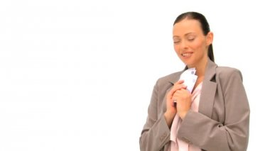 Happy businesswoman holding her cash — Stock Video