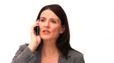 Business woman getting nervous on the phone — Stock Video
