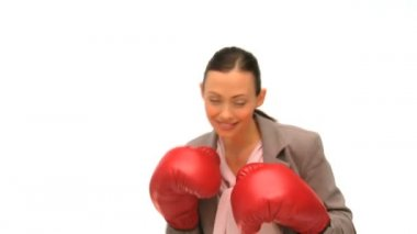 Brunette lady with boxing gloves — Stock Video