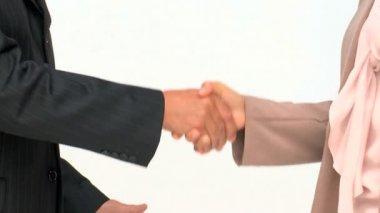 Händerna på två företag — Stockvideo