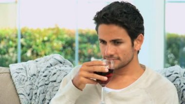 Hombre guapo saboreando un vaso de vino tinto — Vídeo de stock