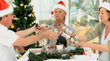Senior friends celebrating Christmas — Stock Video