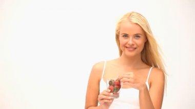 Wonderful woman eating fruit — Stock Video