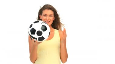 Lovely woman with a ball of soccer — Stock Video