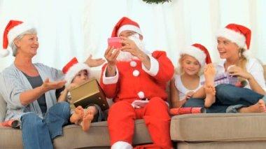 Family celebrating Christmas  — Stock Video