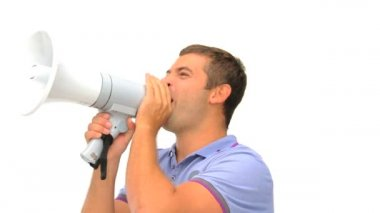 Man shouting through a megaphone — Stock Video