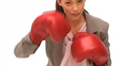 Woman with boxing gloves — Stock Video