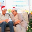 Mature couple during the Christmas day — Stock Video #15550939