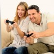 Stock Video: Young couple playing video game