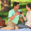 Cute couple drinking red wine — Stock Video