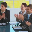 Business team clapping their hands during a meeting — Stock Video
