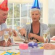 Seniors friends celebrating a birthday — Stock Video